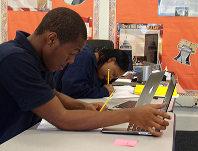 Students using laptops in classroom instruction at Titusville Academy, a private spcieal education school in Hopewell NJ